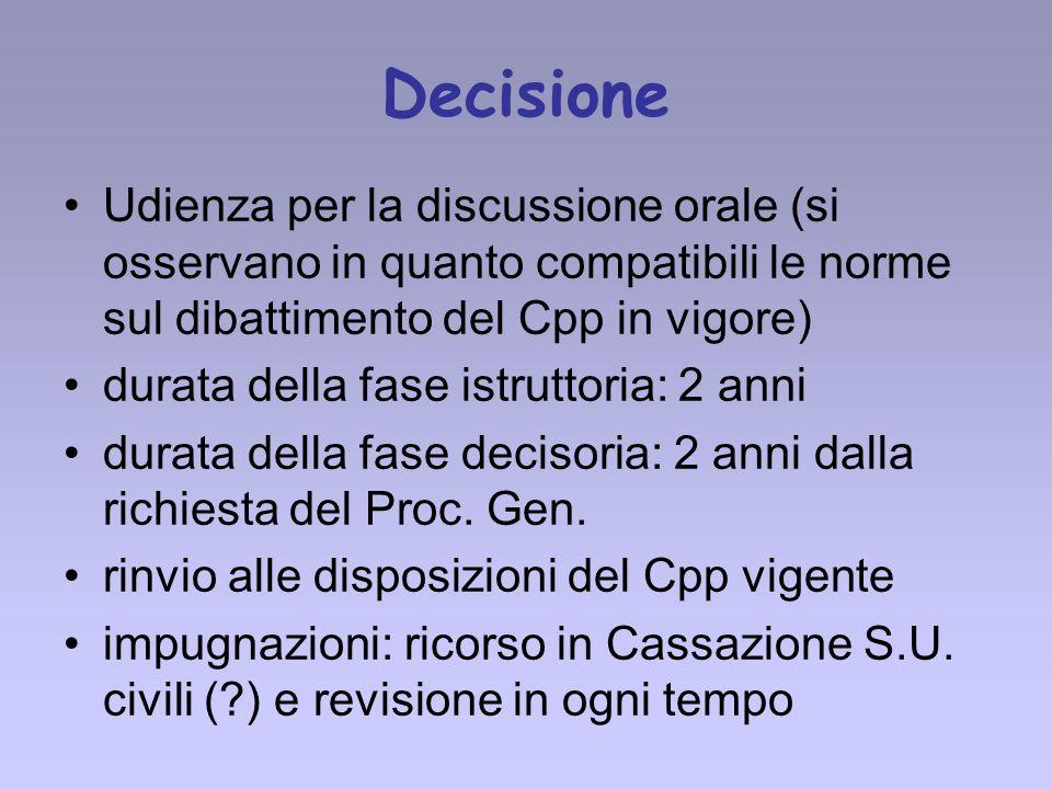 Decisione Udienza per la discussione orale (si osservano in quanto compatibili le norme sul dibattimento del Cpp in vigore)