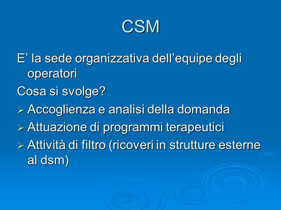 CSM E' la sede organizzativa dell'equipe degli operatori
