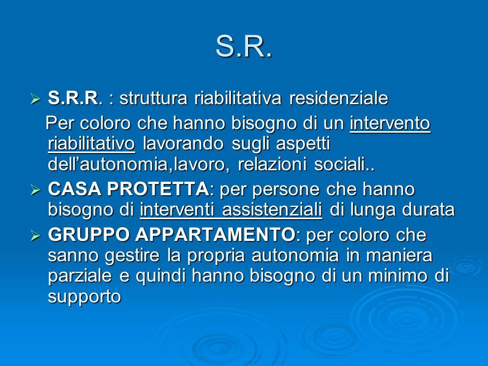 S.R. S.R.R. : struttura riabilitativa residenziale