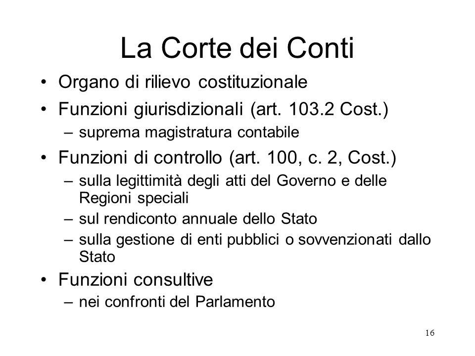 La Corte dei Conti Organo di rilievo costituzionale