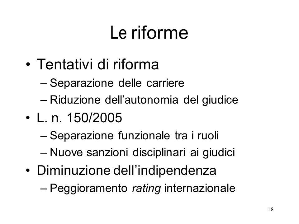 Le riforme Tentativi di riforma L. n. 150/2005