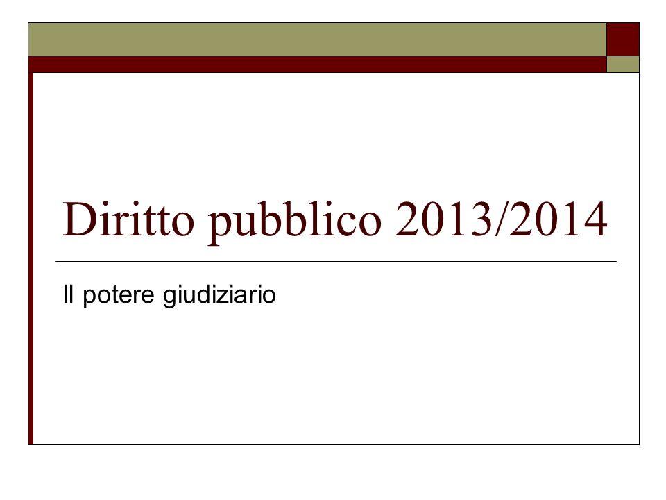 Diritto pubblico 2013/2014 Il potere giudiziario