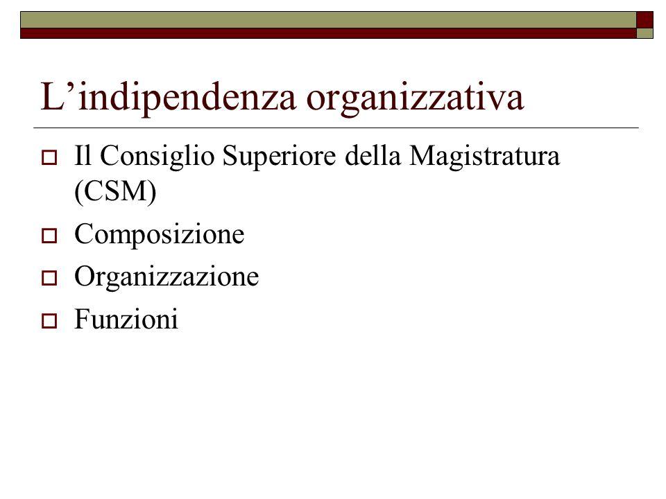 L'indipendenza organizzativa