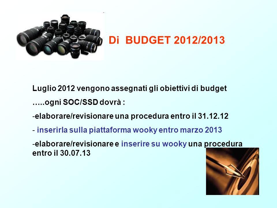 Di BUDGET 2012/2013 Luglio 2012 vengono assegnati gli obiettivi di budget. …..ogni SOC/SSD dovrà :
