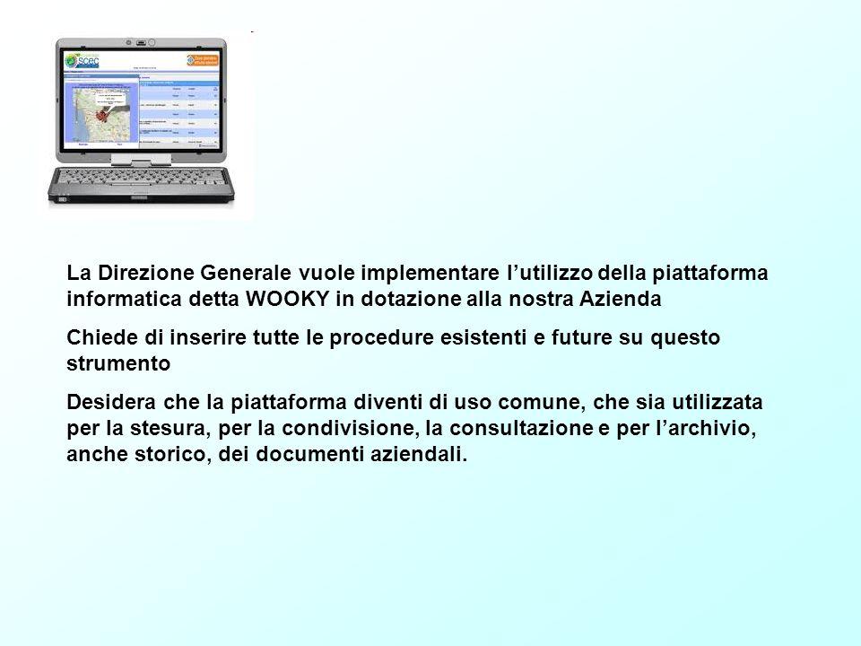 La Direzione Generale vuole implementare l'utilizzo della piattaforma informatica detta WOOKY in dotazione alla nostra Azienda