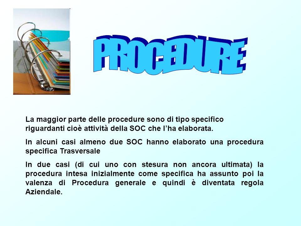 PROCEDURE La maggior parte delle procedure sono di tipo specifico riguardanti cioè attività della SOC che l'ha elaborata.
