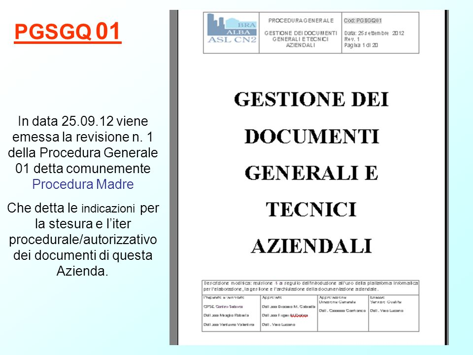 PGSGQ 01 In data 25.09.12 viene emessa la revisione n. 1 della Procedura Generale 01 detta comunemente Procedura Madre.