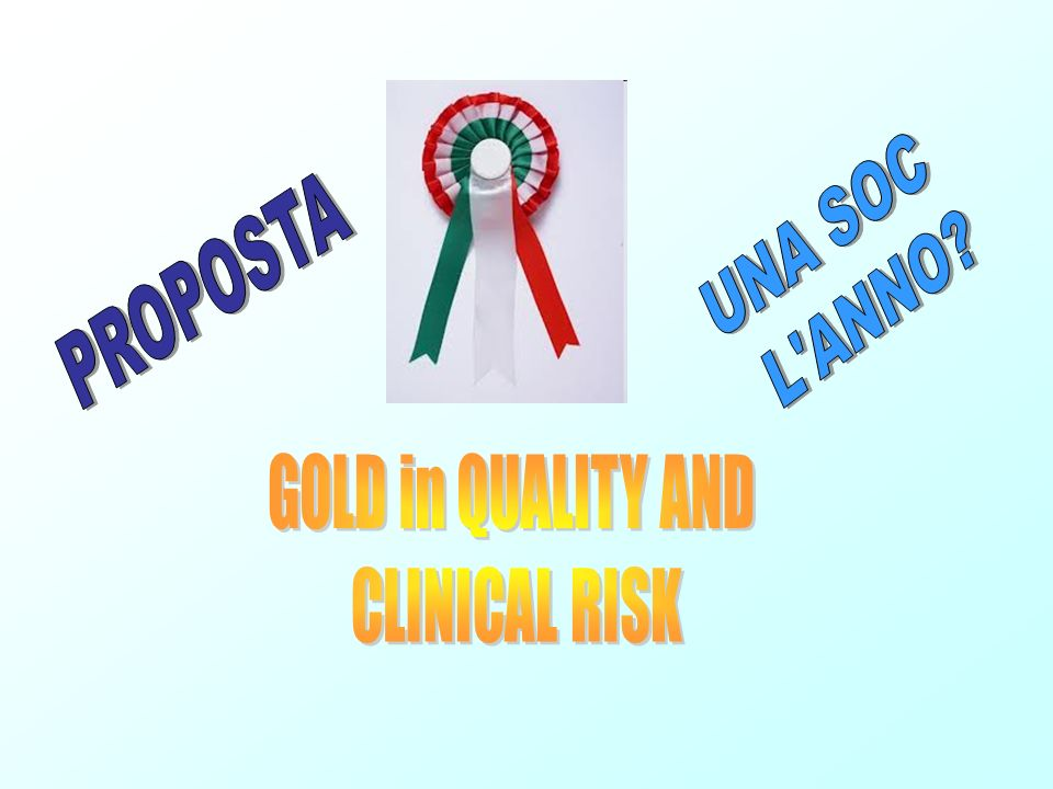 UNA SOC L ANNO PROPOSTA GOLD in QUALITY AND CLINICAL RISK