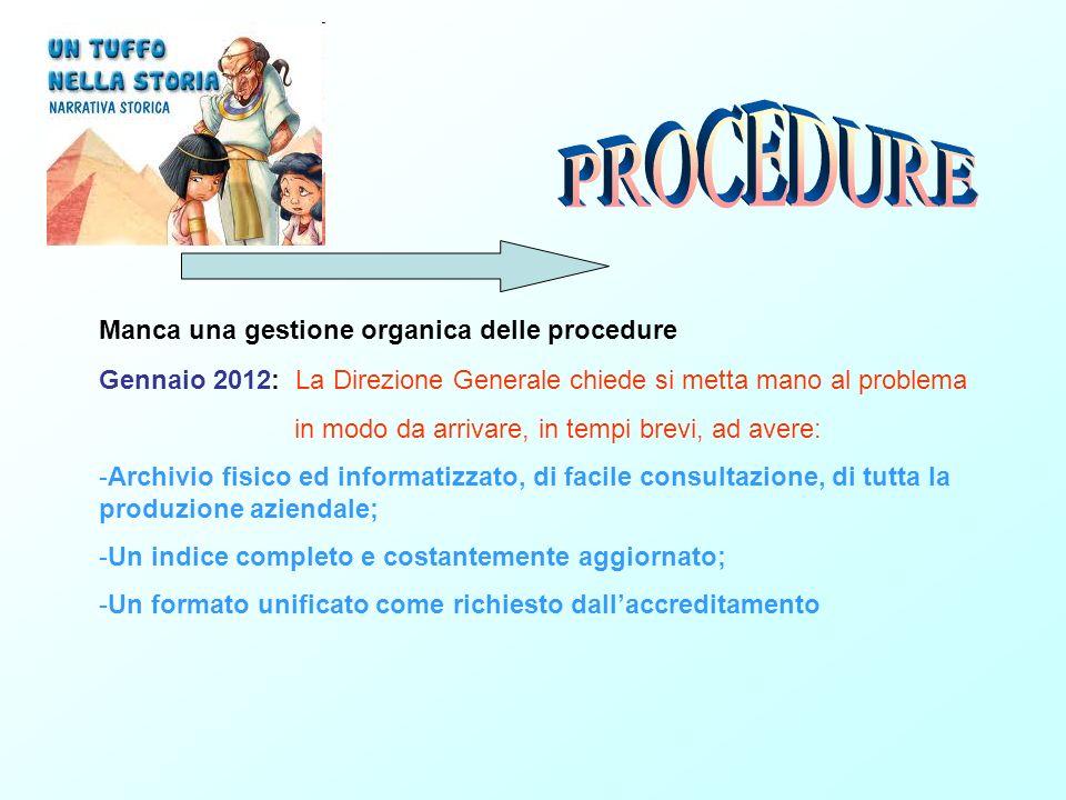PROCEDURE Manca una gestione organica delle procedure
