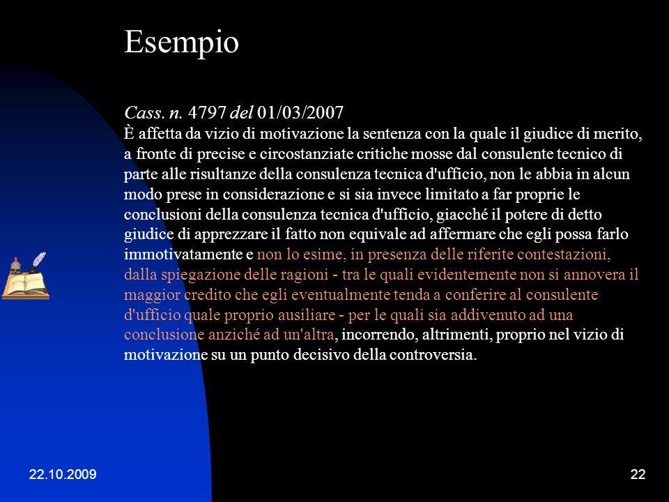Esempio. Cass. n. 4797 del 01/03/2007.