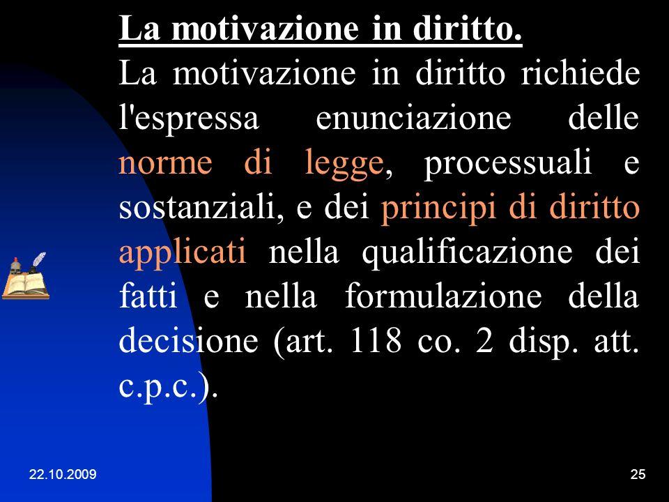La motivazione in diritto.