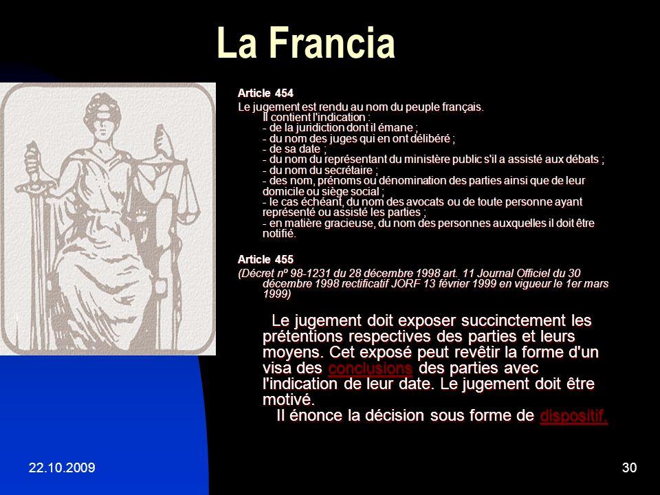 La Francia Article 454.