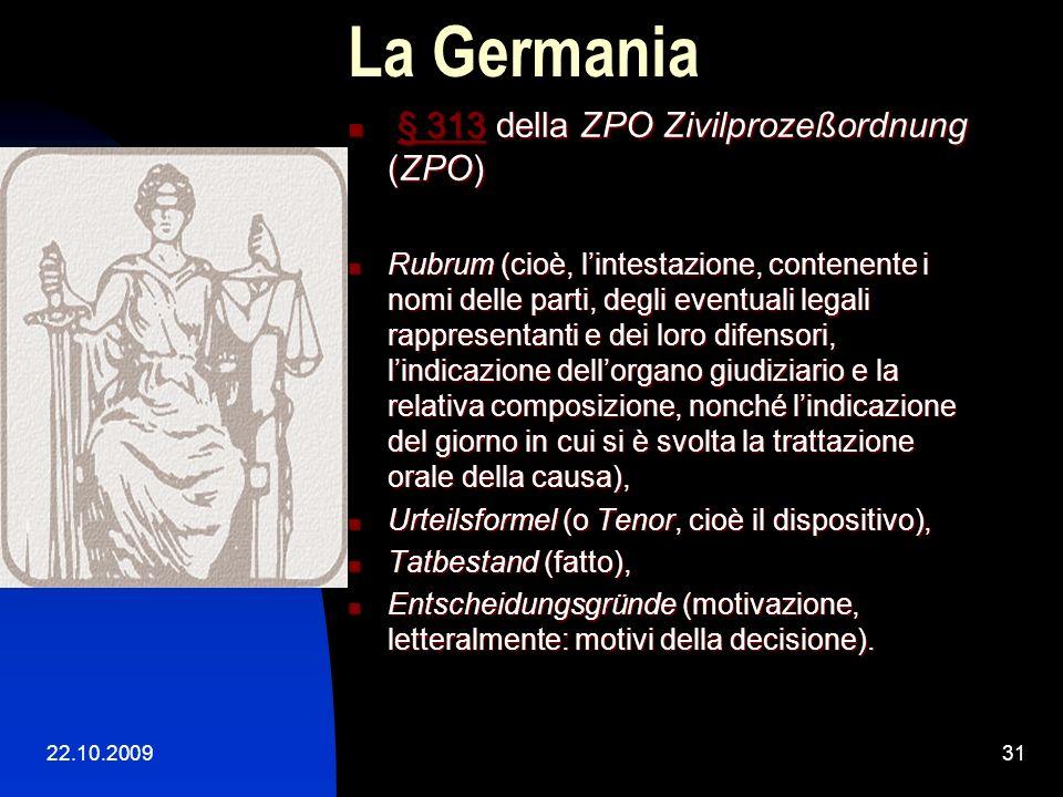 La Germania § 313 della ZPO Zivilprozeßordnung (ZPO)