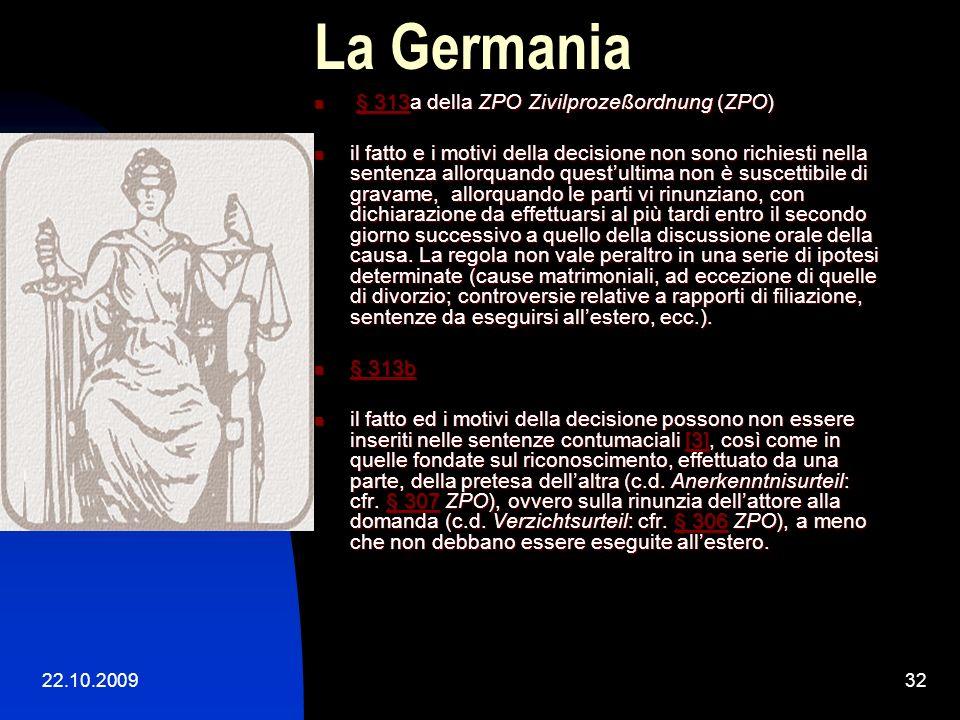 La Germania § 313a della ZPO Zivilprozeßordnung (ZPO)