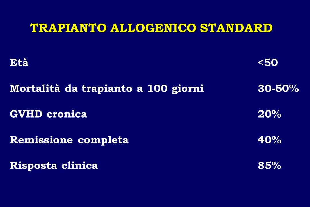 TRAPIANTO ALLOGENICO STANDARD