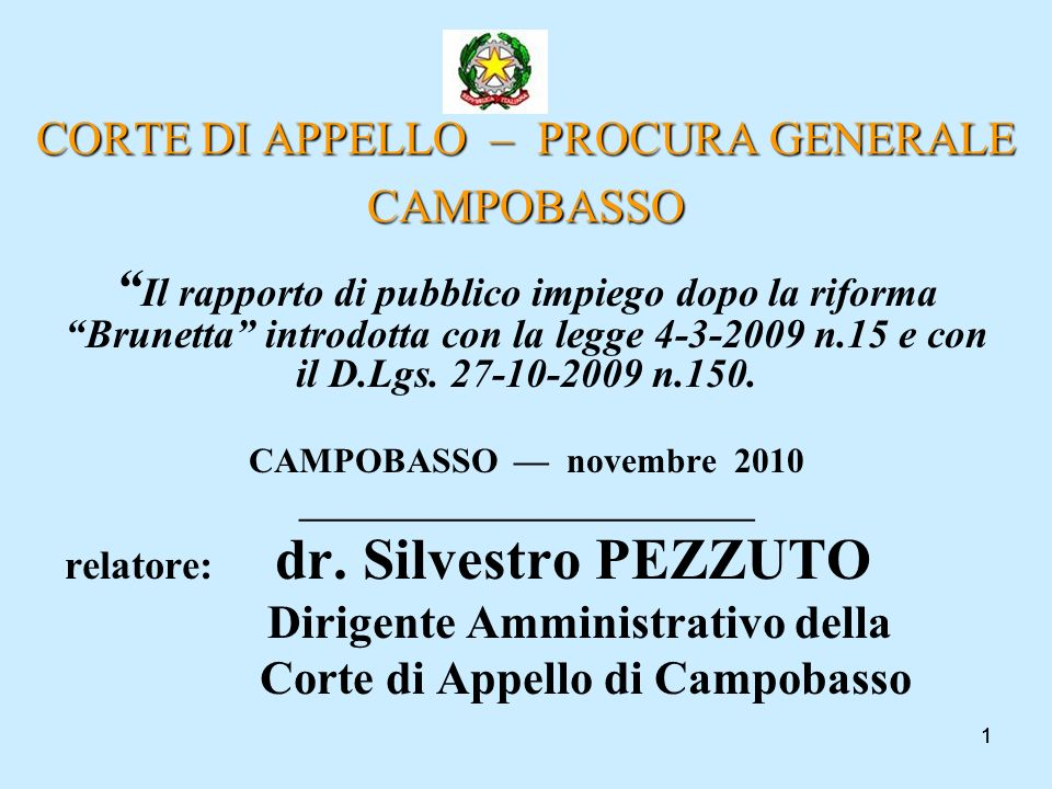CORTE DI APPELLO – PROCURA GENERALE CAMPOBASSO