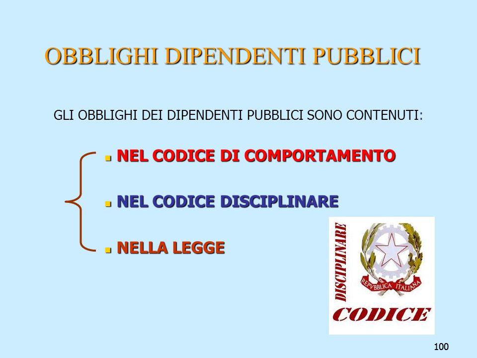 OBBLIGHI DIPENDENTI PUBBLICI