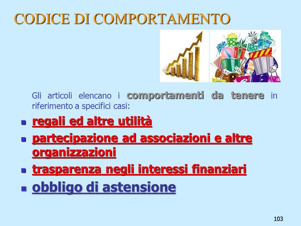 CODICE DI COMPORTAMENTO