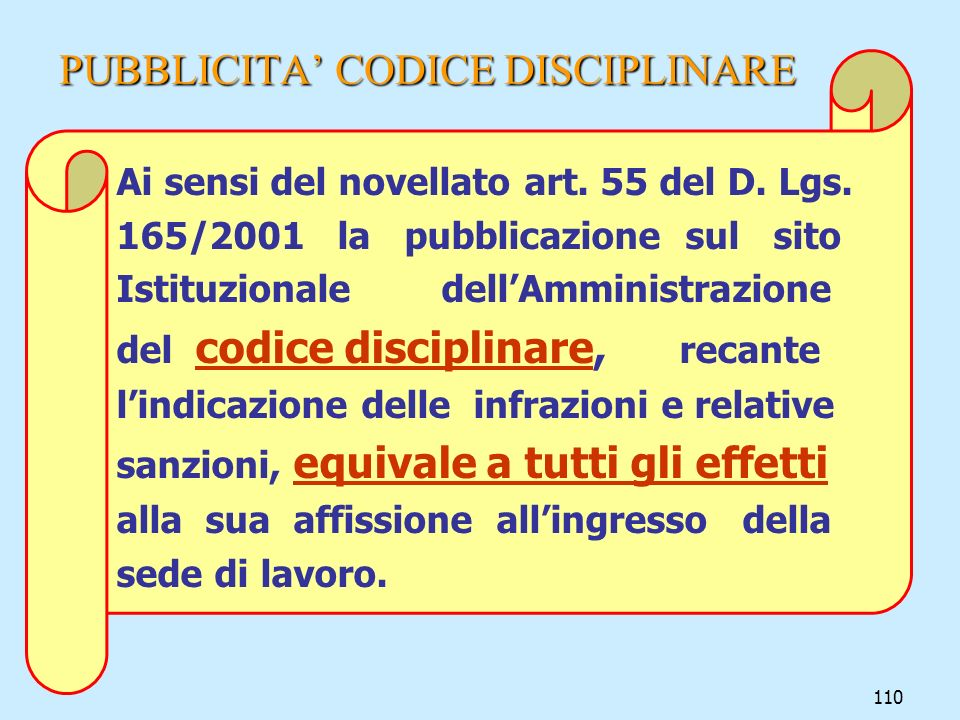 PUBBLICITA' CODICE DISCIPLINARE