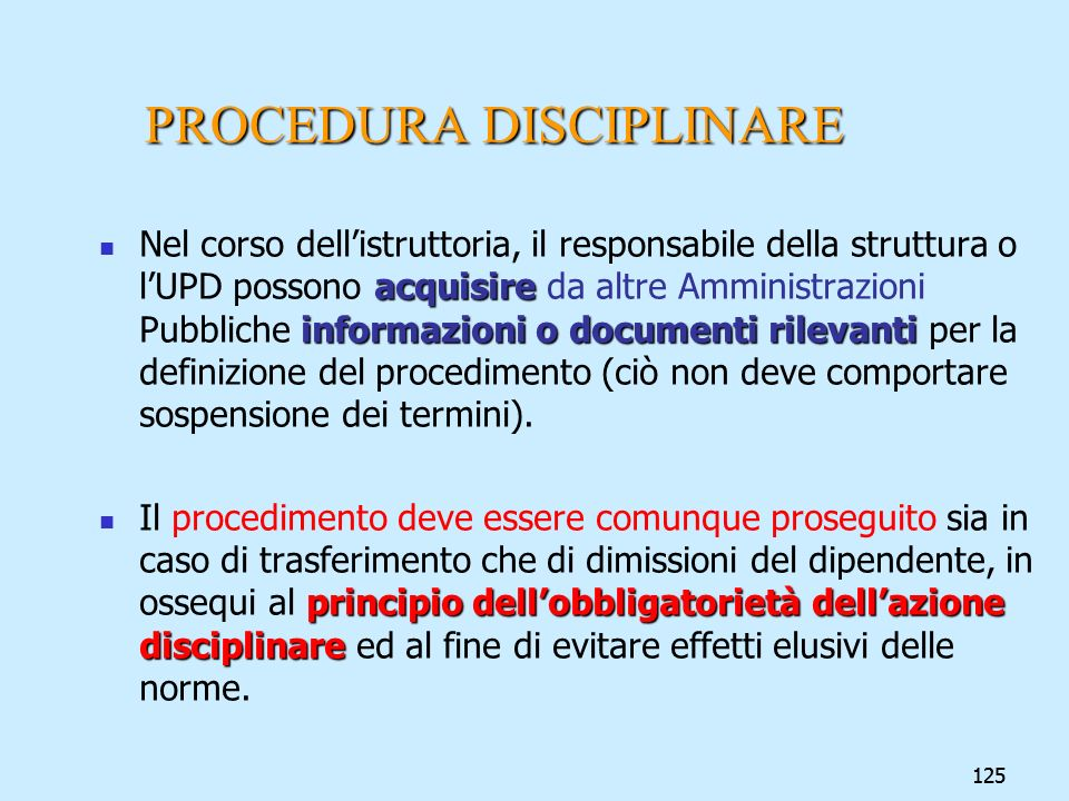 PROCEDURA DISCIPLINARE