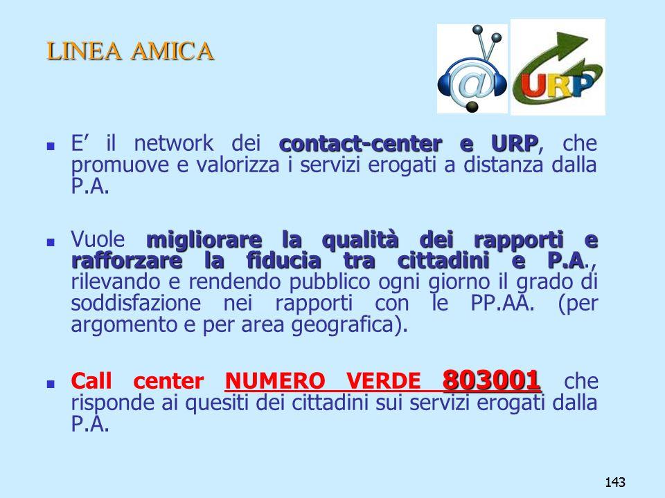 LINEA AMICA E' il network dei contact-center e URP, che promuove e valorizza i servizi erogati a distanza dalla P.A.