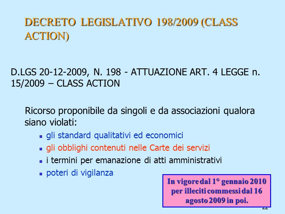DECRETO LEGISLATIVO 198/2009 (CLASS ACTION)