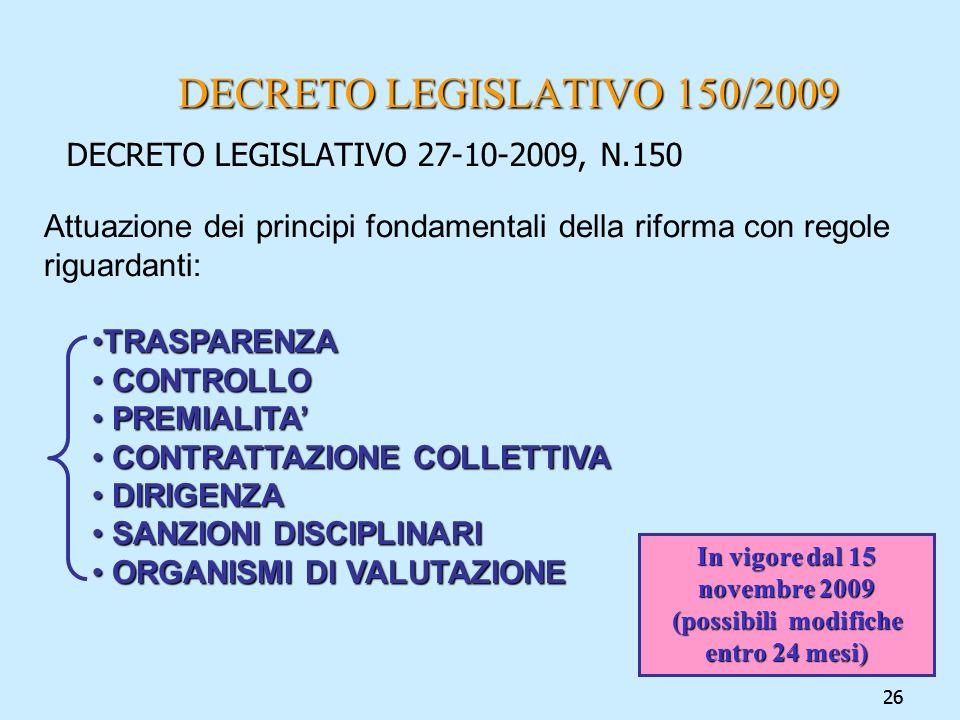 In vigore dal 15 novembre 2009 (possibili modifiche entro 24 mesi)