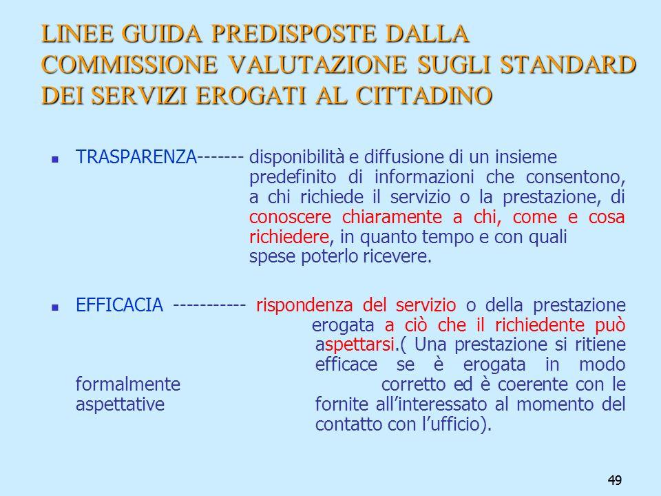 LINEE GUIDA PREDISPOSTE DALLA COMMISSIONE VALUTAZIONE SUGLI STANDARD DEI SERVIZI EROGATI AL CITTADINO