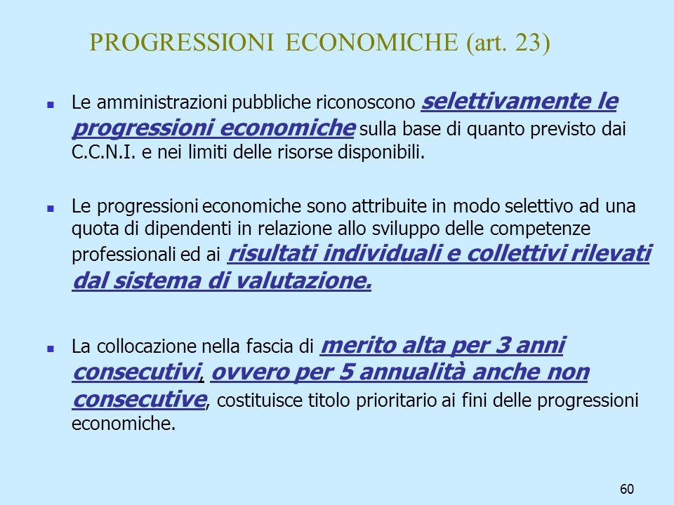 PROGRESSIONI ECONOMICHE (art. 23)
