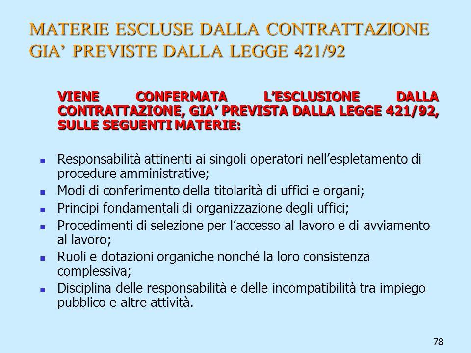 MATERIE ESCLUSE DALLA CONTRATTAZIONE GIA' PREVISTE DALLA LEGGE 421/92