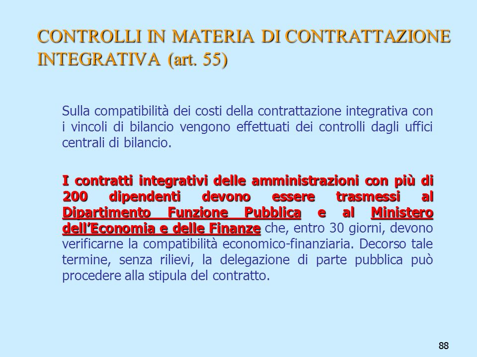 CONTROLLI IN MATERIA DI CONTRATTAZIONE INTEGRATIVA (art. 55)