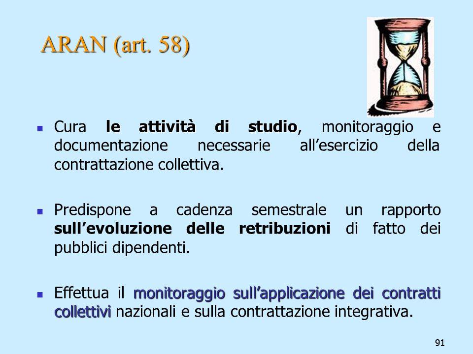 ARAN (art. 58) Cura le attività di studio, monitoraggio e documentazione necessarie all'esercizio della contrattazione collettiva.