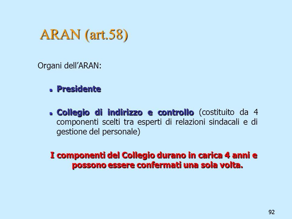 ARAN (art.58) Organi dell'ARAN: Presidente