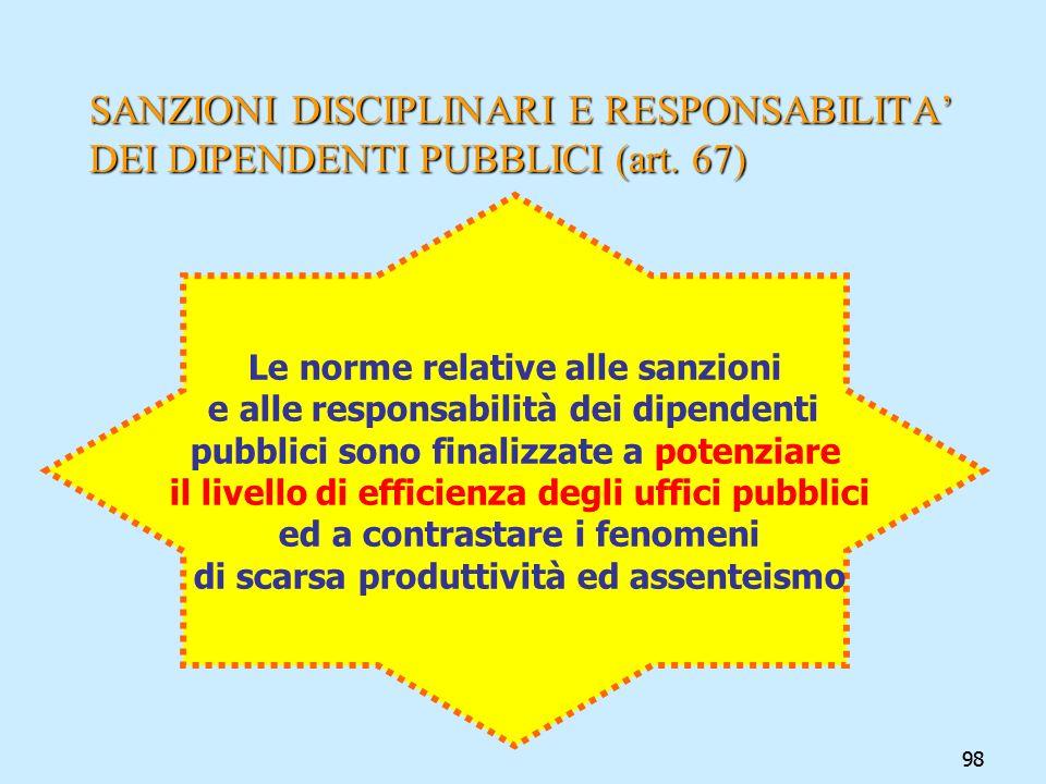 SANZIONI DISCIPLINARI E RESPONSABILITA' DEI DIPENDENTI PUBBLICI (art