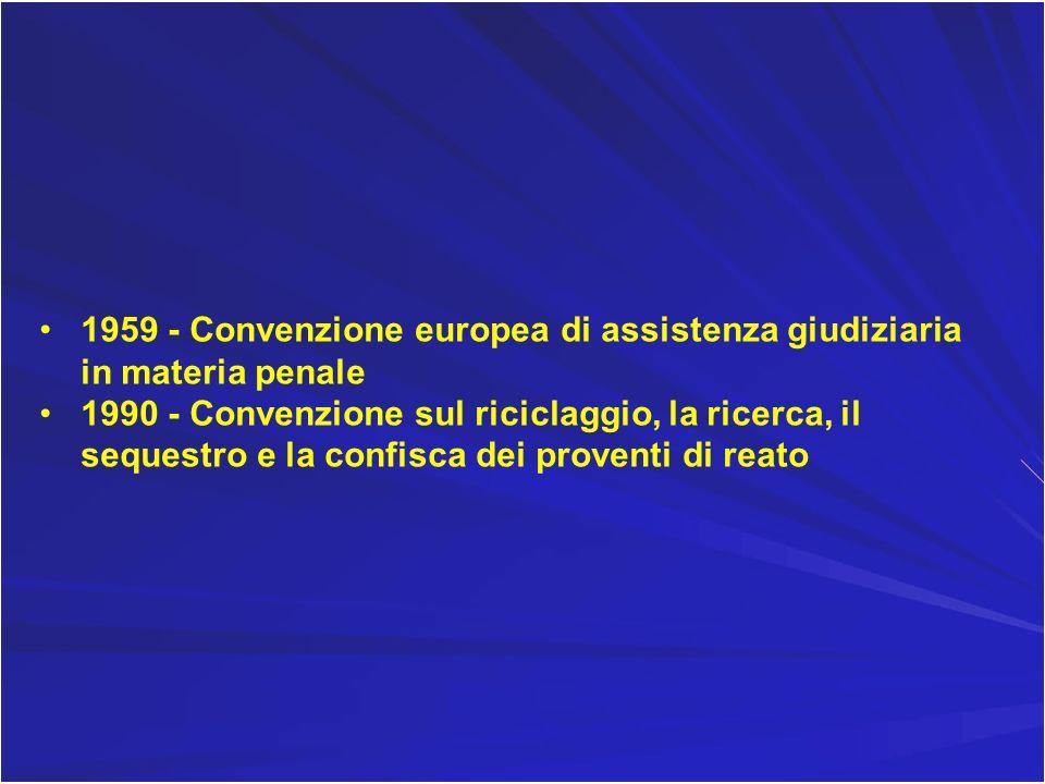 1959 - Convenzione europea di assistenza giudiziaria in materia penale