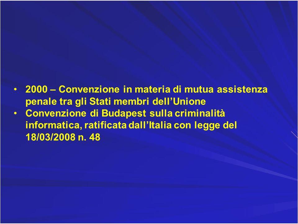 2000 – Convenzione in materia di mutua assistenza penale tra gli Stati membri dell'Unione