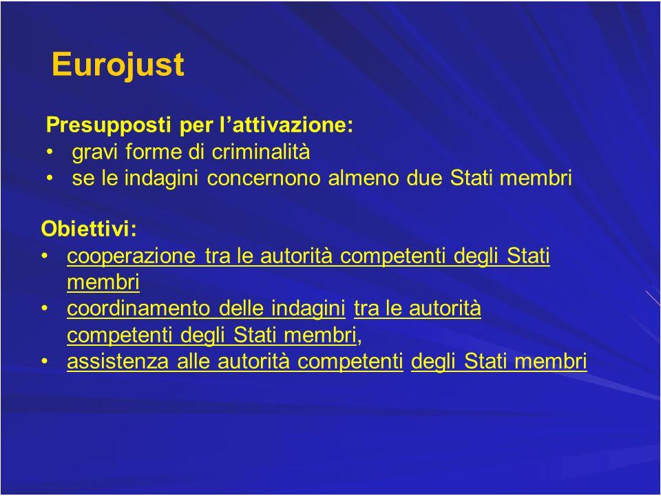 Eurojust Presupposti per l'attivazione: gravi forme di criminalità