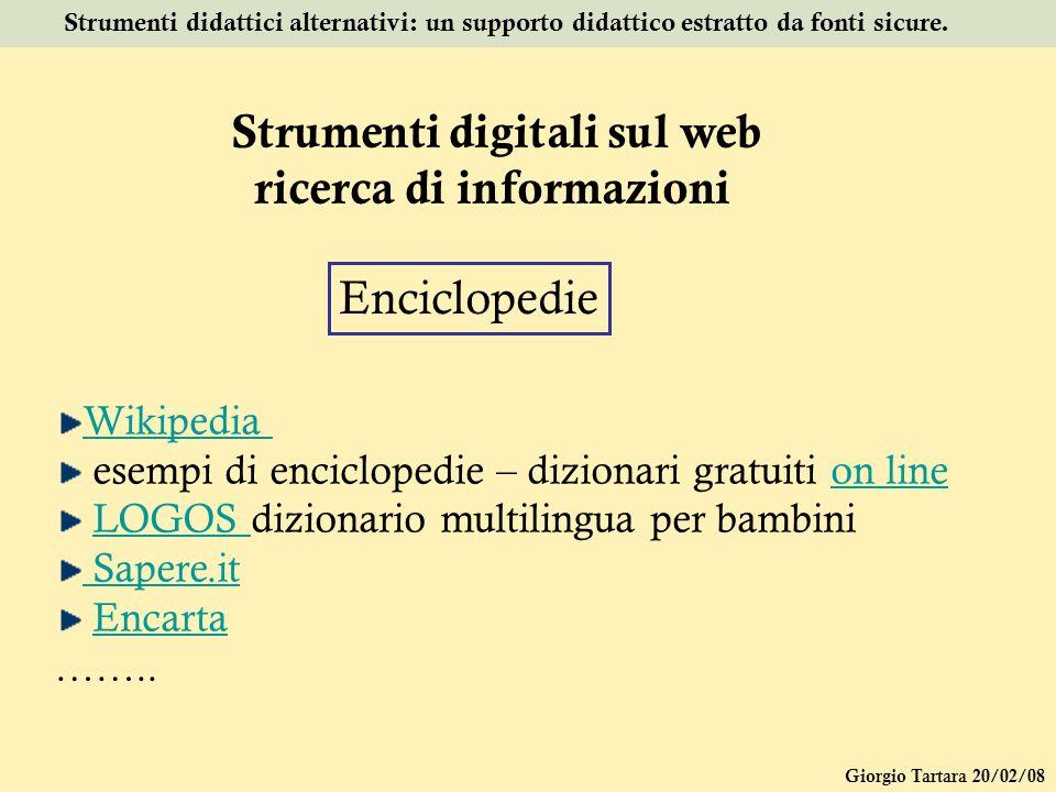 Strumenti digitali sul web ricerca di informazioni