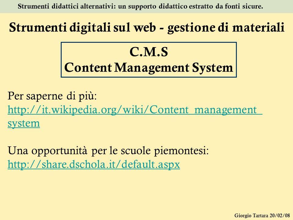 Strumenti digitali sul web - gestione di materiali