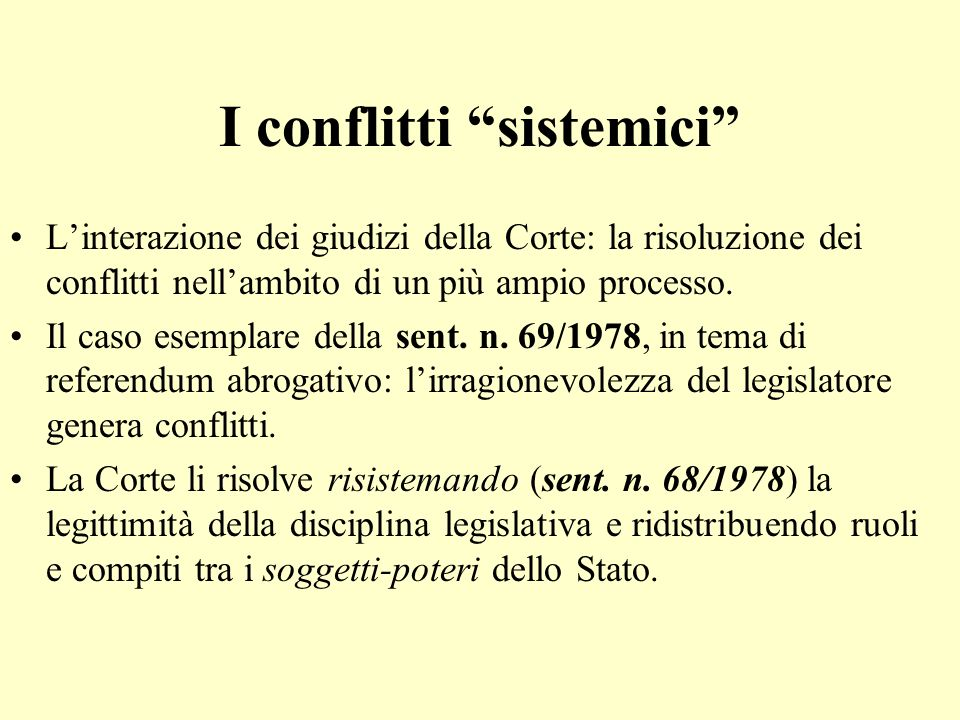 I conflitti sistemici