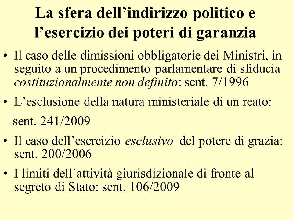 La sfera dell'indirizzo politico e l'esercizio dei poteri di garanzia