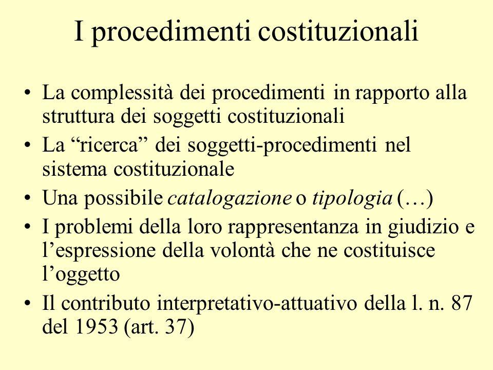 I procedimenti costituzionali