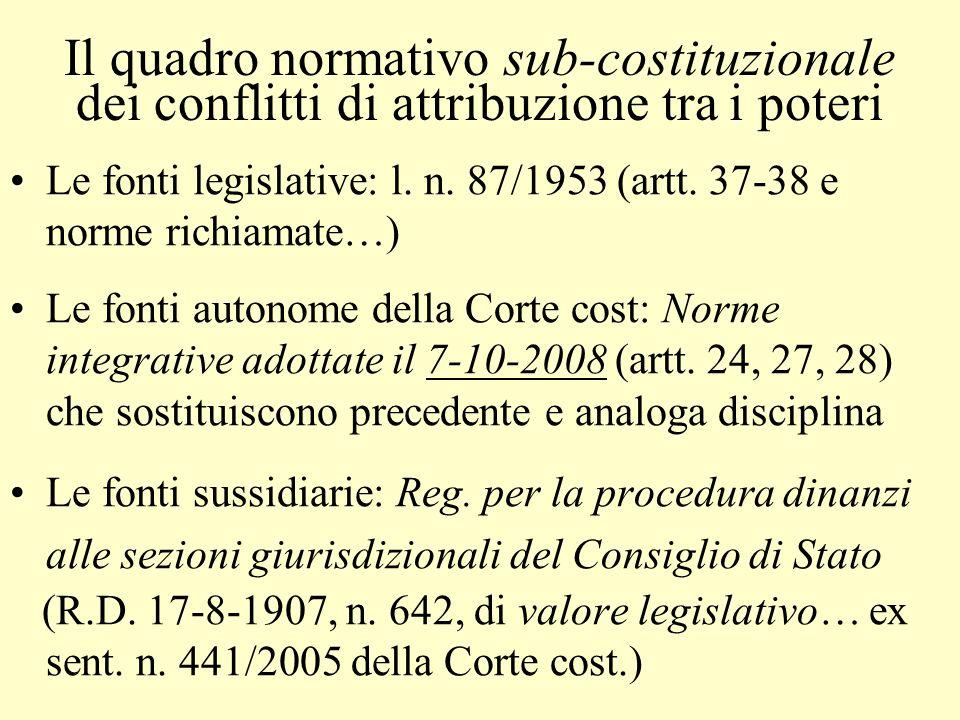 Il quadro normativo sub-costituzionale dei conflitti di attribuzione tra i poteri