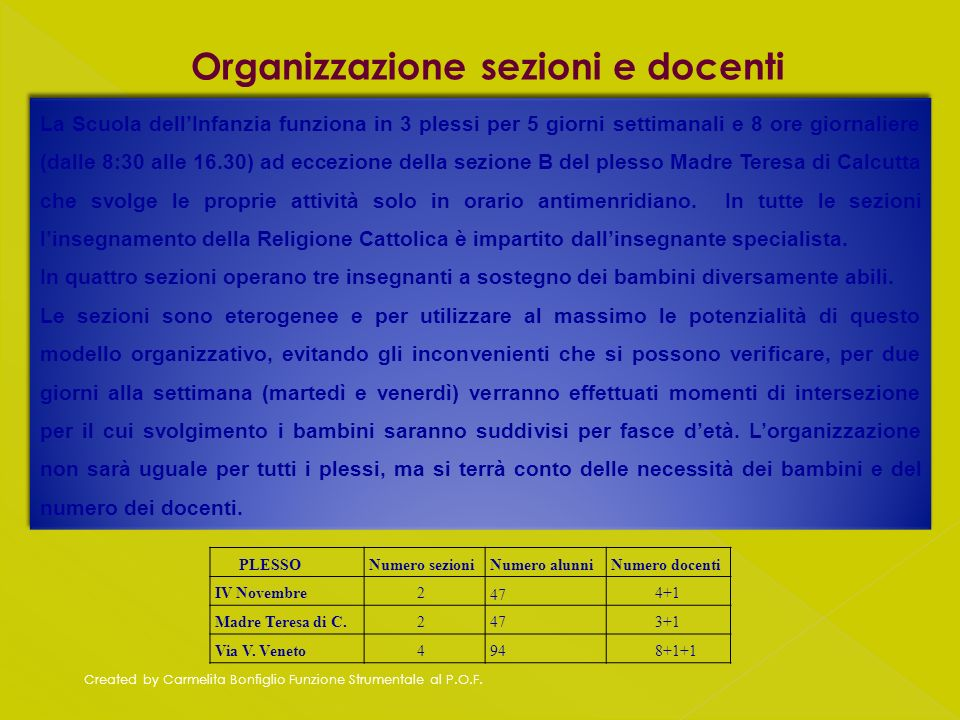 Organizzazione sezioni e docenti