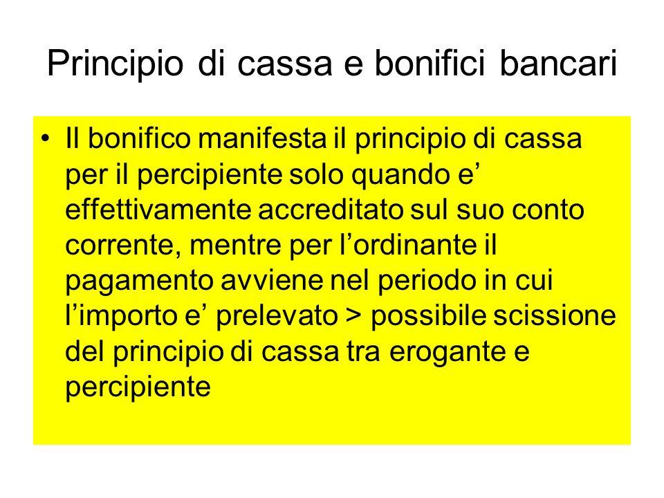 Principio di cassa e bonifici bancari