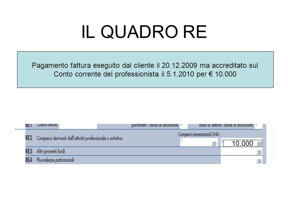 Conto corrente del professionista il 5.1.2010 per € 10.000