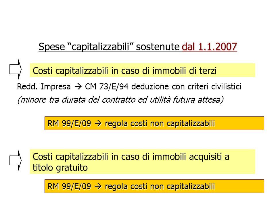 Spese capitalizzabili sostenute dal 1.1.2007