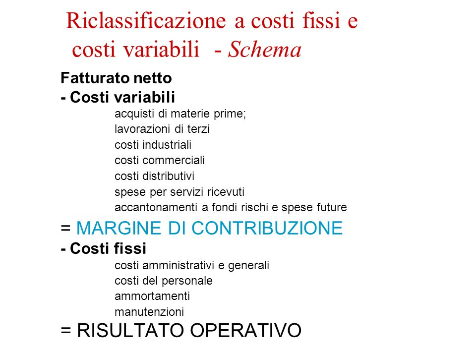 Riclassificazione a costi fissi e costi variabili - Schema