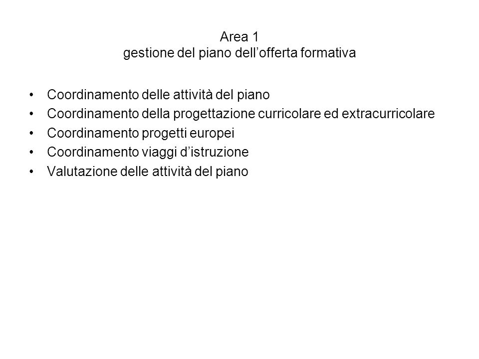 Area 1 gestione del piano dell'offerta formativa