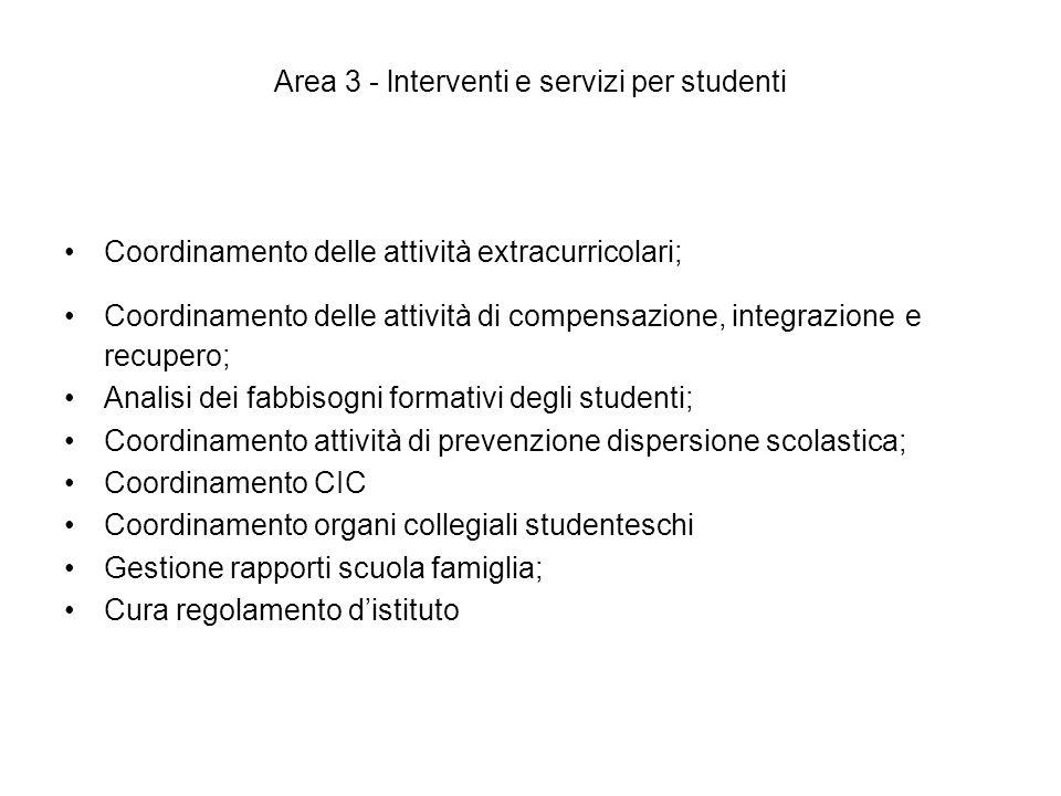 Area 3 - lnterventi e servizi per studenti
